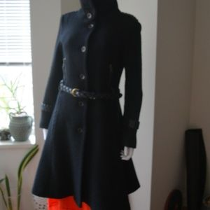 Mackage Women's Wool Coat Leather Trim M/M fits S